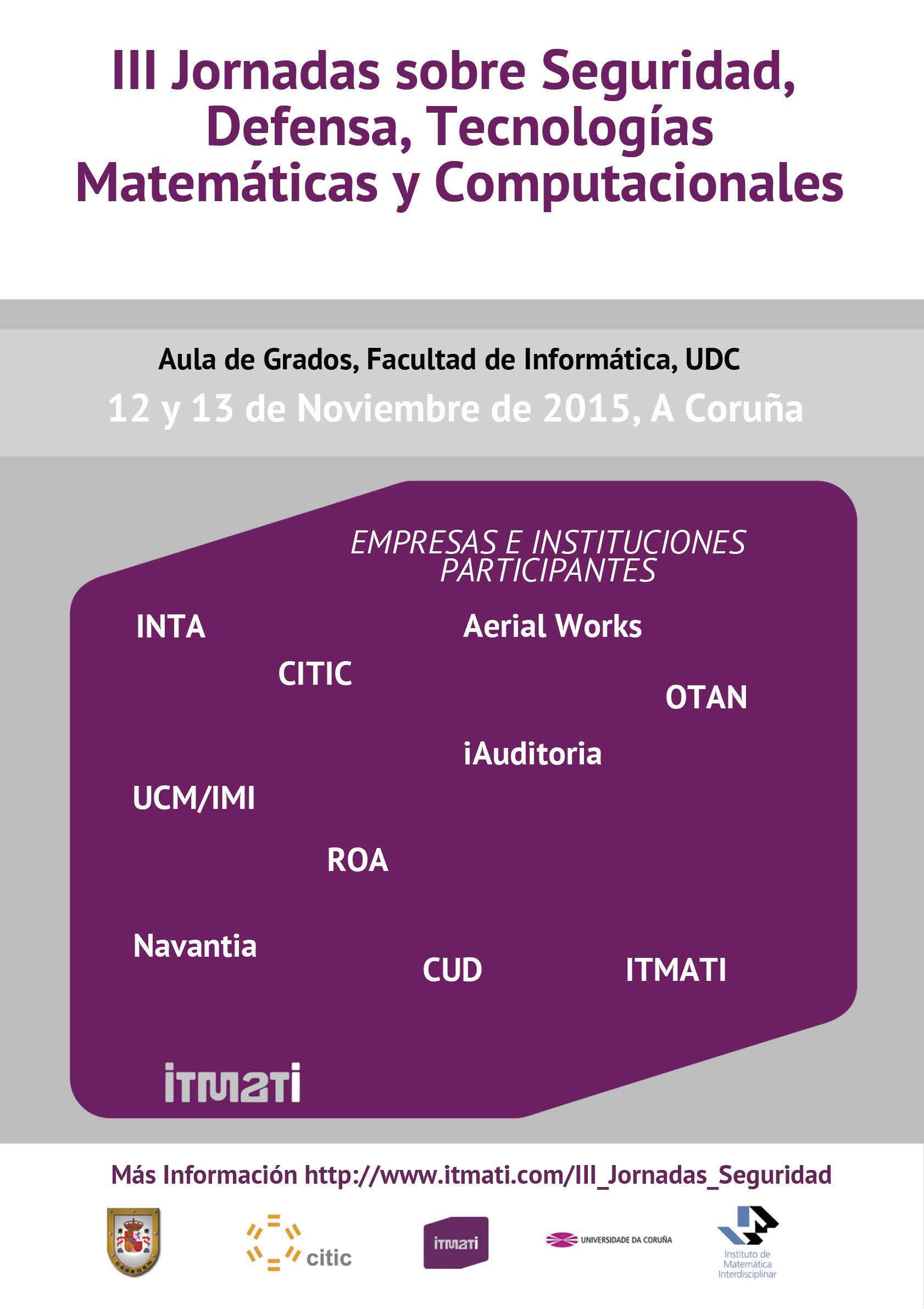 itmati, iii jornadas seguridad defensa tecnologías matemáticas computacionales